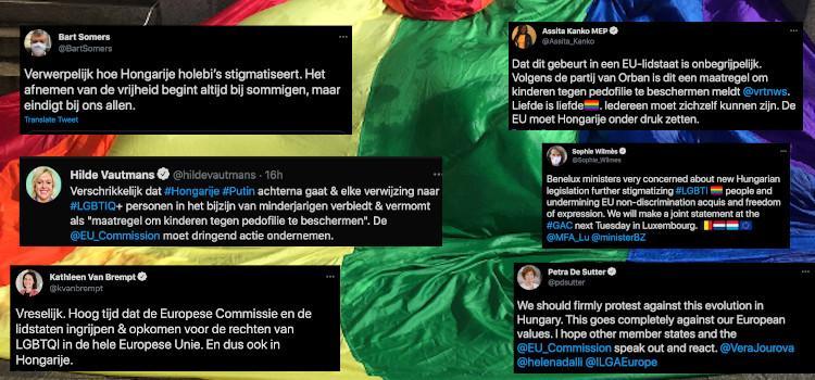 Belgische politici reageren op goedgekeurde anti-LGB...